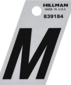 1.5 in. Black and Silver Reflective Adhesive Letter M