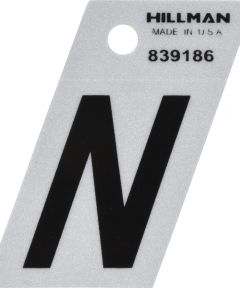 1.5 in. Black and Silver Reflective Adhesive Letter N