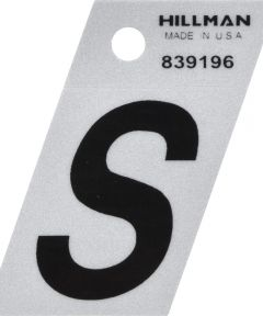 1.5 in. Black and Silver Reflective Adhesive Letter S