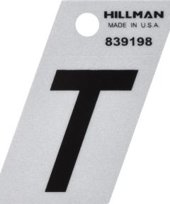 1.5 in. Black and Silver Reflective Adhesive Letter T