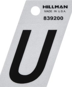 1.5 in. Black and Silver Reflective Adhesive Letter U