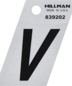 1.5 in. Black and Silver Reflective Adhesive Letter V