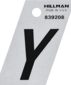 1.5 in. Black and Silver Reflective Adhesive Letter Y