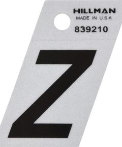 1.5 in. Black and Silver Reflective Adhesive Letter Z