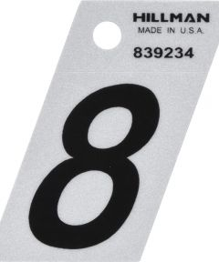 1.5 in. Black and Silver Reflective Adhesive Number 8