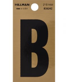 2 in. Black and Gold Adhesive Letter B, Square Cut Mylar