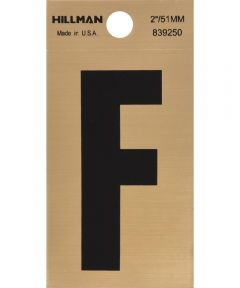 2 in. Black and Gold Adhesive Letter F, Square Cut Mylar