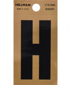 2 in. Black and Gold Adhesive Letter H, Square Cut Mylar