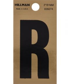 2 in. Black and Gold Adhesive Letter R, Square Cut Mylar