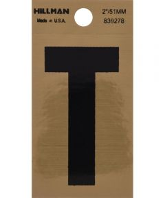 2 in. Black and Gold Adhesive Letter T, Square Cut Mylar