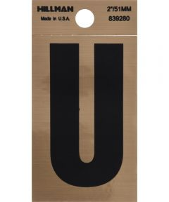 2 in. Black and Gold Adhesive Letter U, Square Cut Mylar