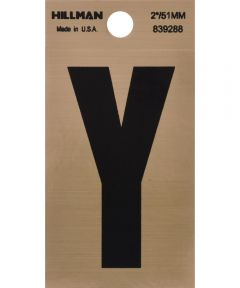 2 in. Black and Gold Adhesive Letter Y, Square Cut Mylar