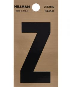 2 in. Black and Gold Adhesive Letter Z, Square Cut Mylar