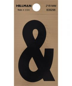 2 in. Black and Gold Adhesive Ampersand, Square Cut Mylar