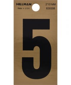2 in. Black and Gold Reflective Adhesive Number 5, Square Cut Mylar