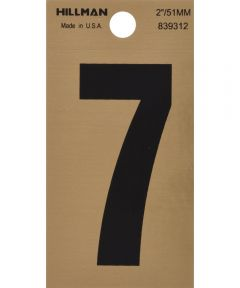2 in. Black and Gold Reflective Adhesive Number 7, Square Cut Mylar