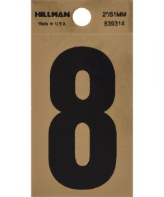 2 in. Black and Gold Reflective Adhesive Number 8, Square Cut Mylar