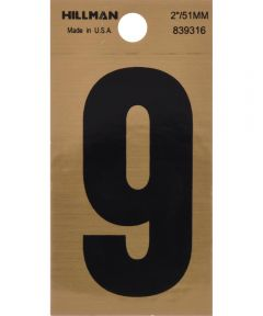 2 in. Black and Gold Reflective Adhesive Number 9, Square Cut Mylar