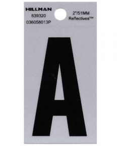 2 in. Black and Silver Reflective Adhesive Letter A, Square Cut Mylar