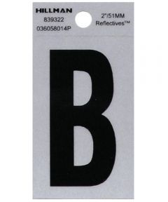 2 in. Black and Silver Reflective Adhesive Letter B, Square Cut Mylar