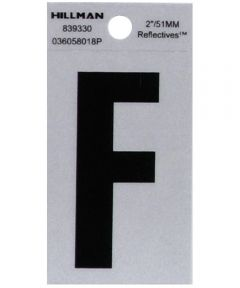 2 in. Black and Silver Reflective Adhesive Letter F, Square Cut Mylar