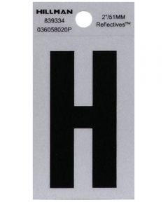 2 in. Black and Silver Reflective Adhesive Letter H, Square Cut Mylar