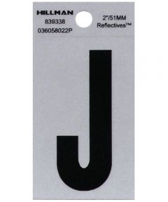 2 in. Black and Silver Reflective Adhesive Letter J, Square Cut Mylar