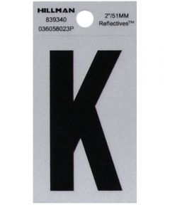 2 in. Black and Silver Reflective Adhesive Letter K, Square Cut Mylar
