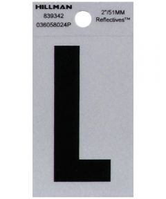 2 in. Black and Silver Reflective Adhesive Letter L, Square Cut Mylar