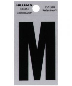 2 in. Black and Silver Reflective Adhesive Letter M, Square Cut Mylar