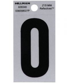 2 in. Black and Silver Reflective Adhesive Letter O, Square Cut Mylar