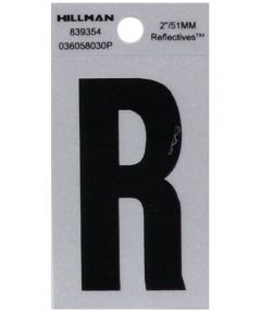 2 in. Black and Silver Reflective Adhesive Letter R, Square Cut Mylar