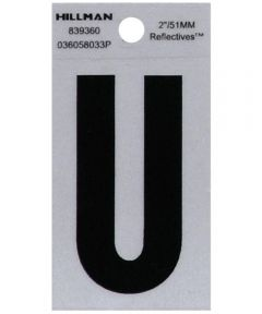 2 in. Black and Silver Reflective Adhesive Letter U, Square Cut Mylar