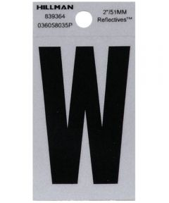 2 in. Black and Silver Reflective Adhesive Letter W, Square Cut Mylar