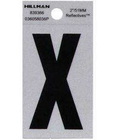 2 in. Black and Silver Reflective Adhesive Letter X