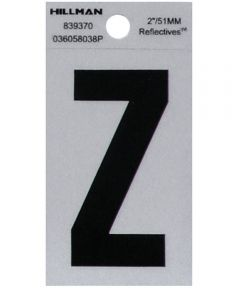 2 in. Black and Silver Reflective Adhesive Letter Z, Square Cut Mylar
