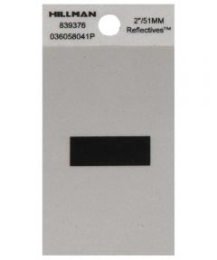 2 in. Black and Silver Reflective Adhesive Hyphen, Square Cut Mylar