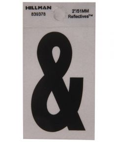 2 in. Black and Silver Reflective Adhesive Ampersand, Square Cut Mylar
