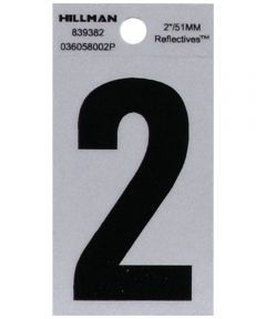 2 in. Black and Silver Reflective Adhesive Number 2, Square Cut Mylar