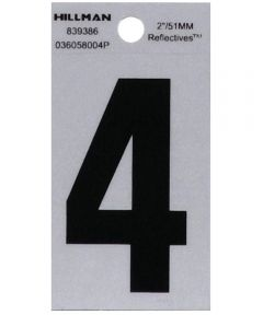 2 in. Black and Silver Reflective Adhesive Number 4, Square Cut Mylar