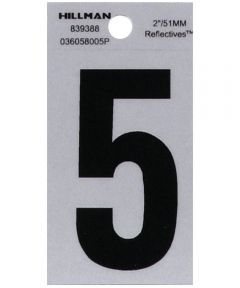 2 in. Black and Silver Reflective Adhesive Number 5, Square Cut Mylar