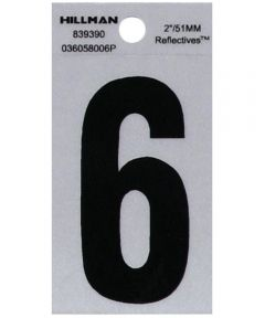2 in. Black and Silver Reflective Adhesive Number 6, Square Cut Mylar