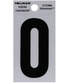 2 in. Black and Silver Reflective Adhesive Number 0, Square Cut Mylar