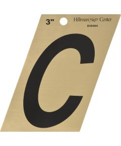 3 in. Black and Gold Adhesive Letter C, Angle Cut Mylar