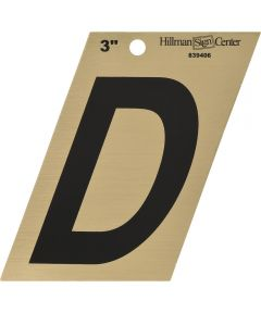 3 in. Black and Gold Adhesive Letter D, Angle Cut Mylar