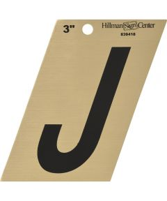 3 in. Black and Gold Adhesive Letter J
