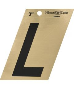 3 in. Black and Gold Adhesive Letter L, Angle Cut Mylar