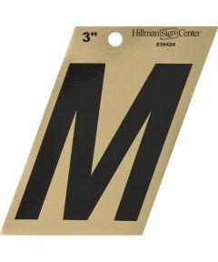 3 in. Black and Gold Adhesive Letter M