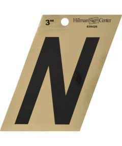3 in. Black and Gold Adhesive Letter N, Angle Cut Mylar