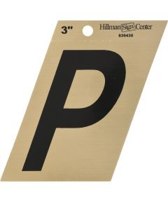 3 in. Black and Gold Adhesive Letter P, Angle Cut Mylar